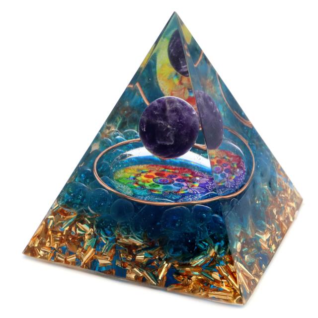 オルゴナイト ピラミッド アメジスト 丸玉入り 紫水晶 曼荼羅 orgonite pyramid  置物 天然石 パワーストーン 浄化