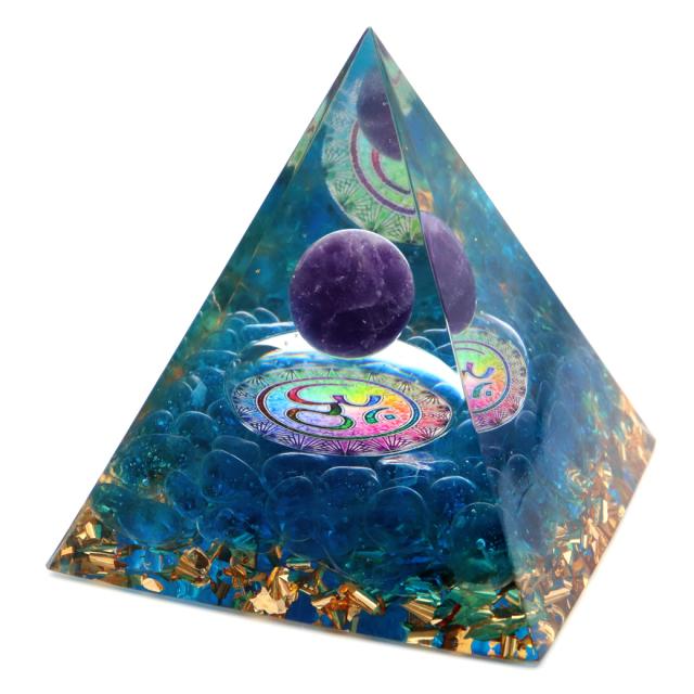 オルゴナイト ピラミッド アメジスト 丸玉入り 紫水晶 幾何学模様 orgonite pyramid  置物 天然石 パワーストーン 浄化