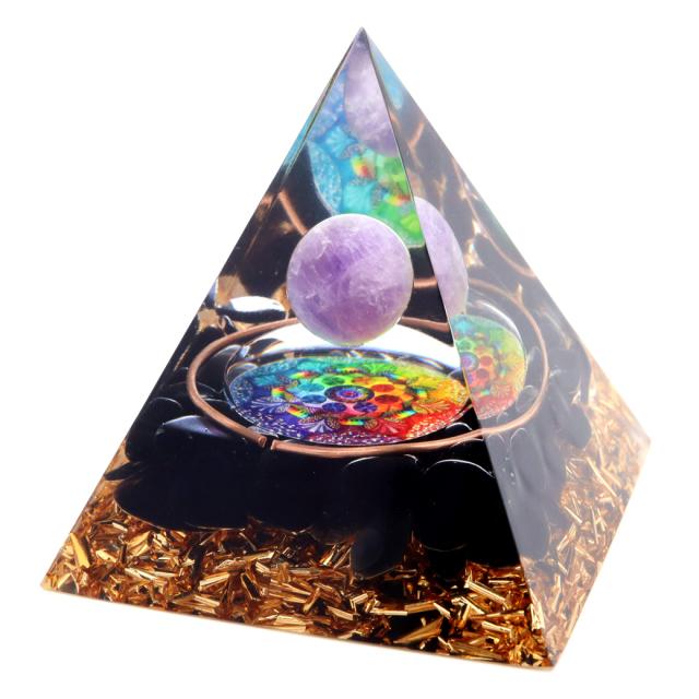 オルゴナイト ピラミッド アメジスト 丸玉入り オブシディアン さざれ 紫水晶 曼荼羅 orgonite pyramid  置物 天然石