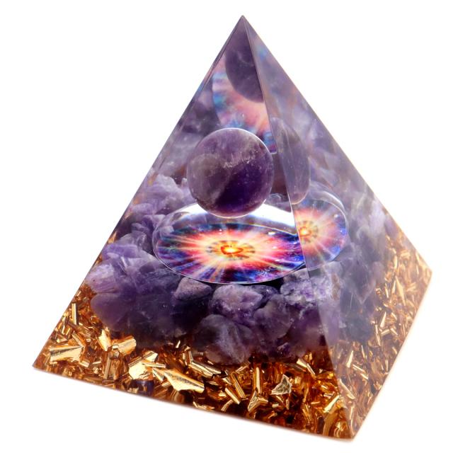 オルゴナイト ピラミッド 愛心 ハート アメジスト さざれ 丸玉入り 紫水晶 orgonite pyramid  置物 天然石 パワーストーン 浄化