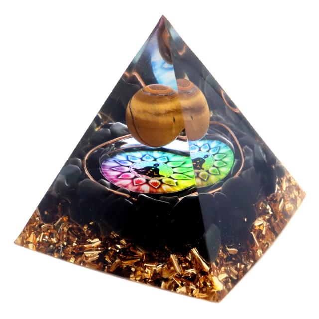 オルゴナイト ピラミッド チャクラ オブシディアン さざれ タイガーアイ 丸玉入り orgonite pyramid  置物 天然石 パワーストーン 浄化