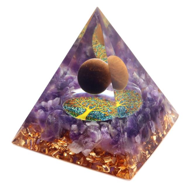 オルゴナイト ピラミッド 生命の樹 アメジスト さざれ タイガーアイ 丸玉入り orgonite pyramid  置物 天然石 パワーストーン 浄化