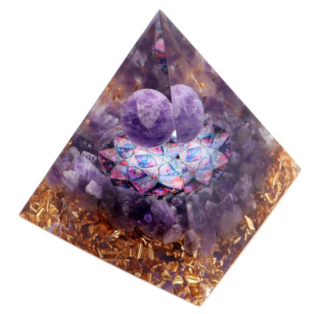 オルゴナイト ピラミッド アメジスト さざれ 丸玉入り 紫水晶 orgonite pyramid  置物 天然石 パワーストーン 浄化