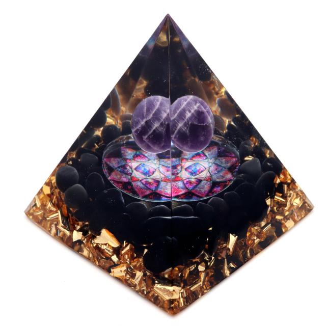 オルゴナイト ピラミッド オブシディアン さざれ アメジスト 丸玉 フラワー orgonite pyramid  置物 天然石 パワーストーン 浄化