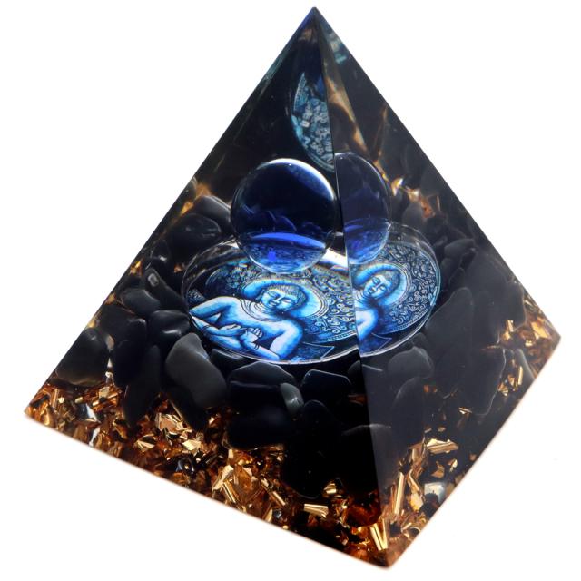 オルゴナイト ピラミッド オブシディアン さざれ 黒曜石 如来 orgonite pyramid  置物 天然石 パワーストーン 浄化