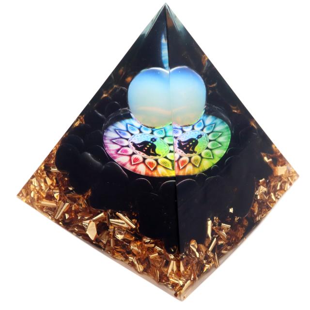 オルゴナイト ピラミッド オブシディアン さざれ 黒曜石 チャクラ orgonite pyramid  置物 天然石 パワーストーン 浄化