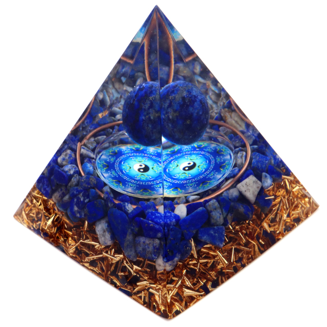 オルゴナイト ピラミッド ラピスラズリ さざれ 丸玉入り 青金石 太極 orgonite pyramid  置物 天然石 パワーストーン 浄化