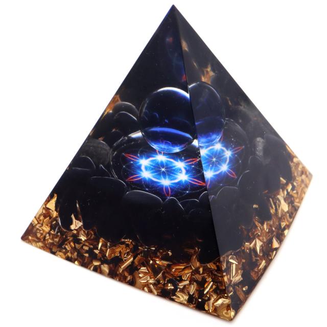 オルゴナイト ピラミッド オブシディアン さざれ 黒曜石 orgonite pyramid  置物 天然石 パワーストーン 浄化