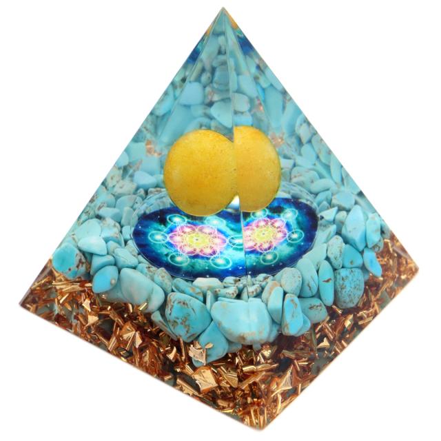 オルゴナイト ピラミッド ターコイズ トルコ石 さざれ アラゴナイト 丸玉入り 六芒星  orgonite pyramid  置物 天然石