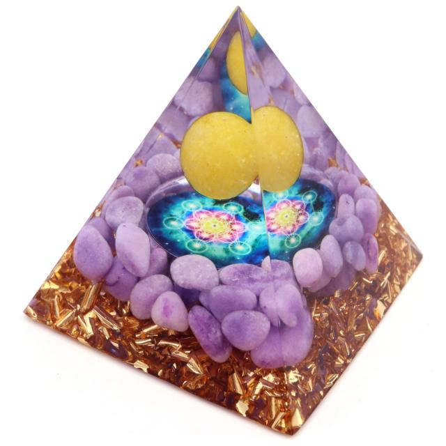 オルゴナイト ピラミッド ラベンダーアメジスト さざれ アラゴナイト 丸玉入り 六芒星  orgonite pyramid  置物 天然石