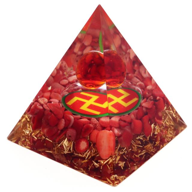 オルゴナイト ピラミッド レッドコーラル さざれ 珊瑚 卍 orgonite pyramid  置物 天然石 パワーストーン 浄化