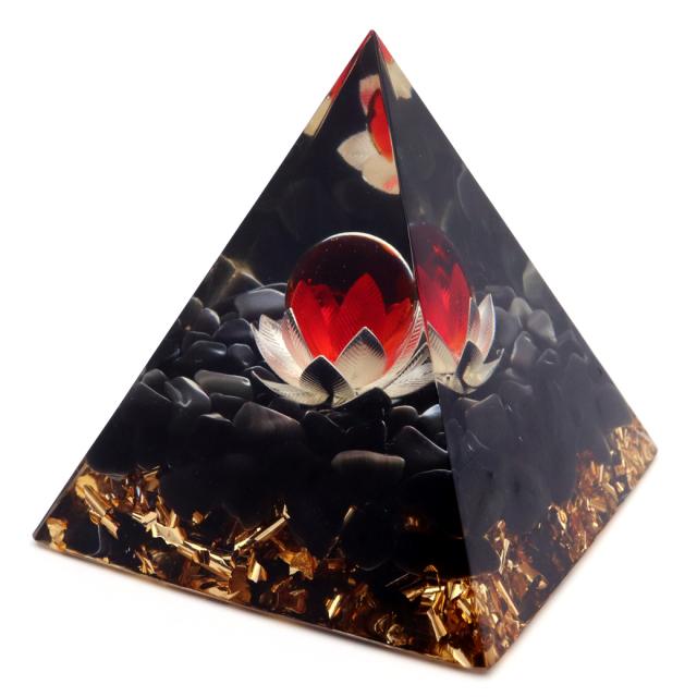 オルゴナイト ピラミッド オブシディアン さざれ 黒曜石 蓮の花 orgonite pyramid  置物 天然石 パワーストーン 浄化
