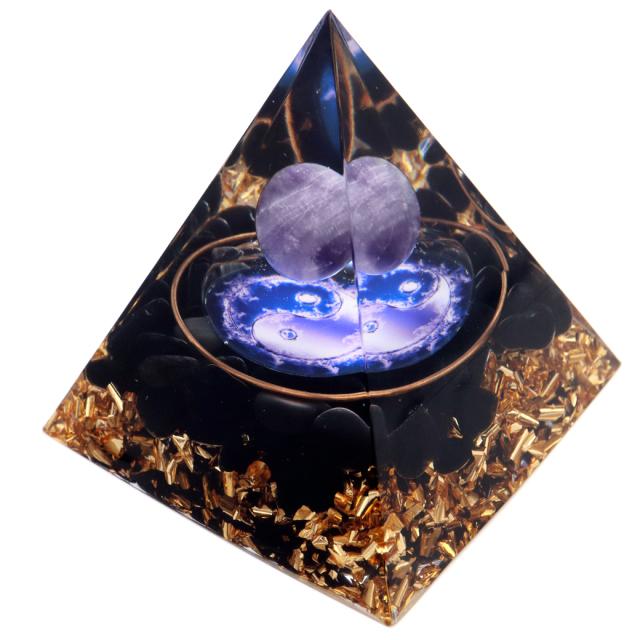 オルゴナイト ピラミッド オブシディアン さざれ アメジスト 丸玉 太極 orgonite pyramid  置物 天然石 パワーストーン 浄化