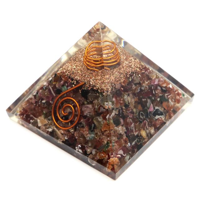 トルマリン 使用 水晶 単結晶入り オルゴナイト ピラミッド 大人気 スピリチュアルグッズ 幅約55mm前後