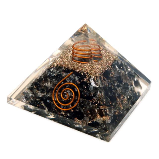モリオン使用 水晶単結晶入り オルゴナイト ピラミッド 黒水晶 大人気 スピリチュアルグッズ 幅約55mm前後