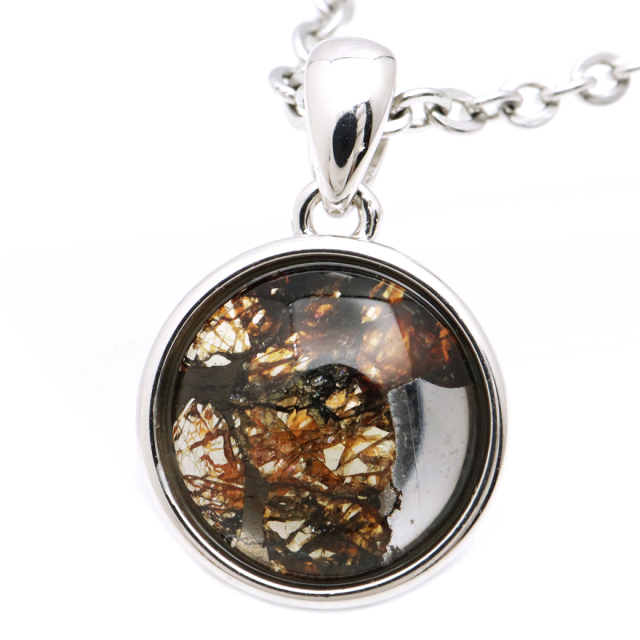パラサイト隕石 ネックレス 鉄隕石 ケニア産 ペンダント かんらん石 1点物