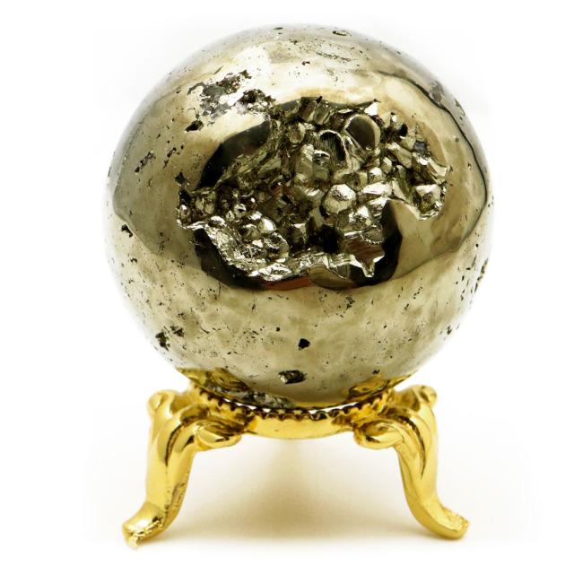 パイライト 丸玉 40mm 1点物 ペルー産 台座付き 置き物 天然石 パワーストーン ピカピカ鏡面 黄鉄鉱