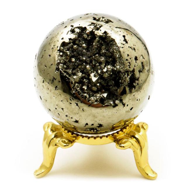 パイライト 丸玉 35mm 1点物 ペルー産 台座付き 置き物 天然石 パワーストーン ピカピカ鏡面 黄鉄鉱