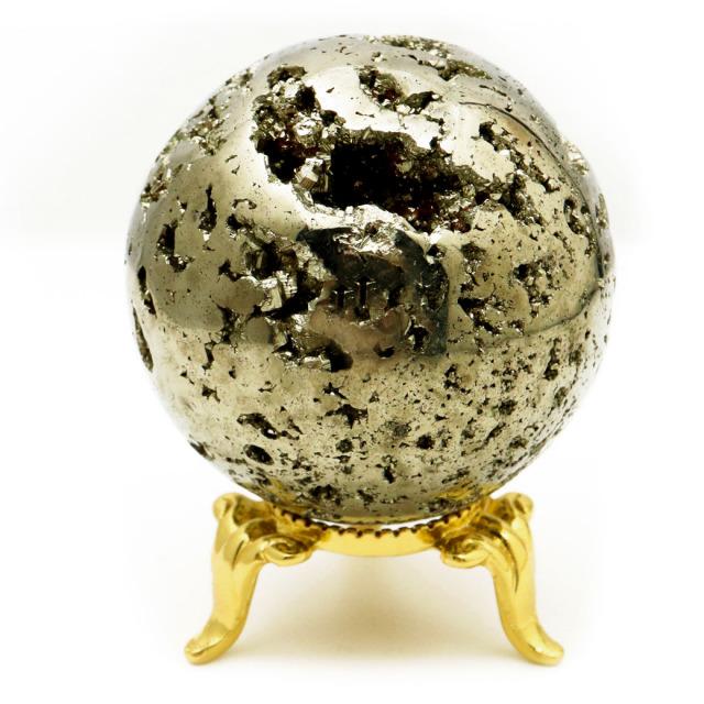 パイライト 丸玉 45mm 1点物 ペルー産 台座付き 置き物 天然石 パワーストーン ピカピカ鏡面 黄鉄鉱