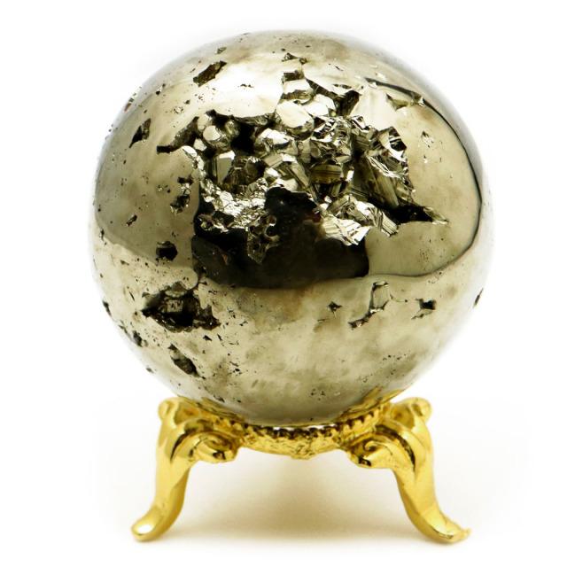 パイライト 丸玉 44mm 1点物 ペルー産 台座付き 置き物 天然石 パワーストーン ピカピカ鏡面 黄鉄鉱