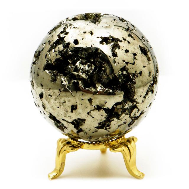パイライト 丸玉 48mm 1点物 ペルー産 台座付き 置き物 天然石 パワーストーン ピカピカ鏡面 黄鉄鉱