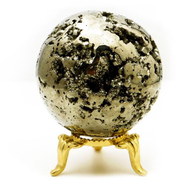パイライト 丸玉 47mm 1点物 ペルー産 台座付き 置き物 天然石 パワーストーン ピカピカ鏡面 黄鉄鉱
