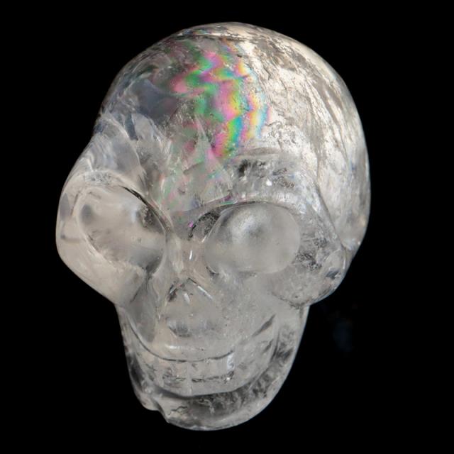 クリスタル スカル 天然水晶 虹入り 骸骨 置物  アイリスクォーツ ドクロ ブラジル産