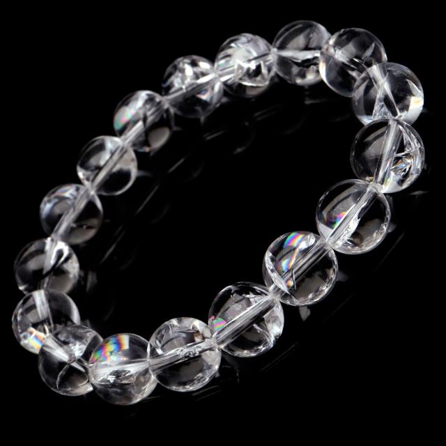 水晶 ブレスレット アイリスクォーツ 天然 虹入り 12mm レインボー 天然石 パワーストーン