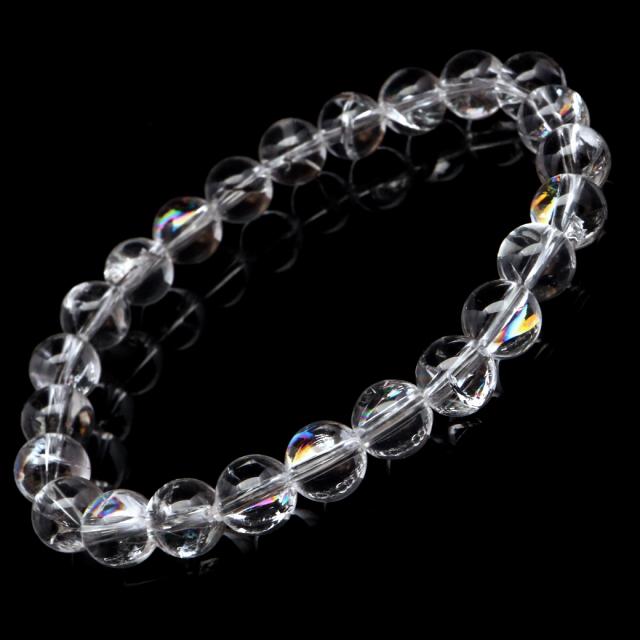 水晶 ブレスレット アイリスクォーツ 天然 虹入り 8mm レインボー 天然石 パワーストーン