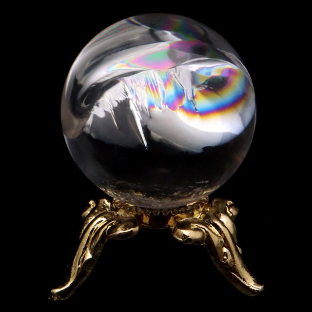 アイリスクォーツ 丸玉 水晶 虹入り AA 天然 台座付き レインボー パワーストーン 天然石