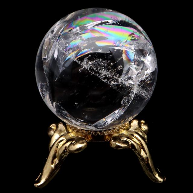 アイリスクォーツ 丸玉 水晶 虹入り AA 天然 直径約22mm 台座付き レインボー パワーストーン 天然石