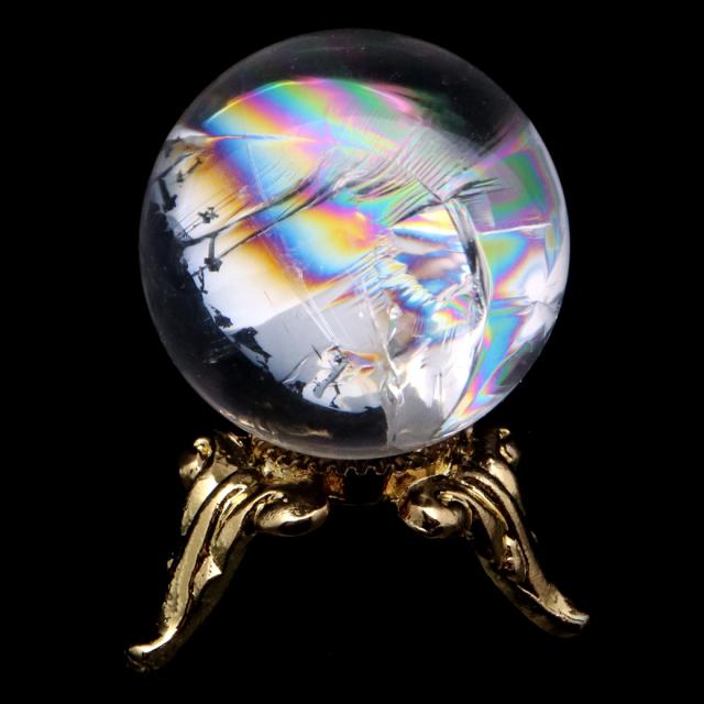 アイリスクォーツ 丸玉 水晶 虹入り AA 天然 直径約23mm 台座付き レインボー パワーストーン 天然石
