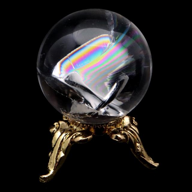 アイリスクォーツ 丸玉 水晶 虹入り AA 天然 直径約24mm 台座付き レインボー パワーストーン 天然石