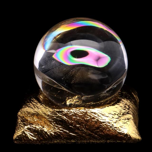 アイリスクォーツ 丸玉 水晶 虹入り AAA 天然 直径約38mm 座布団付き レインボー パワーストーン 天然石