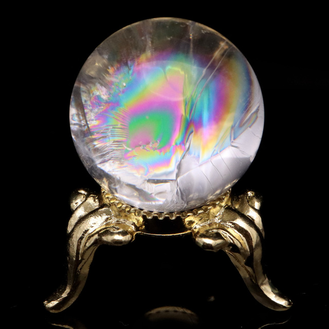 アイリスクォーツ 丸玉 水晶 虹入り AA+ 天然 台座付き レインボー パワーストーン 天然石
