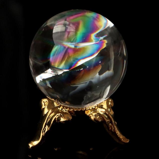 アイリスクォーツ 虹入り 天然 水晶 丸玉 台座付き レインボー パワーストーン 天然石