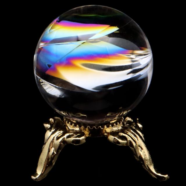 アイリスクォーツ 丸玉 水晶 虹入り 天然 台座付き レインボー パワーストーン 天然石