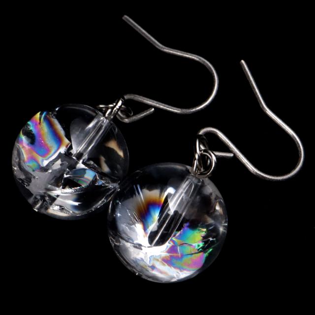水晶 ピアス レディース 両耳用 アイリスクォーツ 天然 虹入り レインボー 天然石 パワーストーン 送料無料
