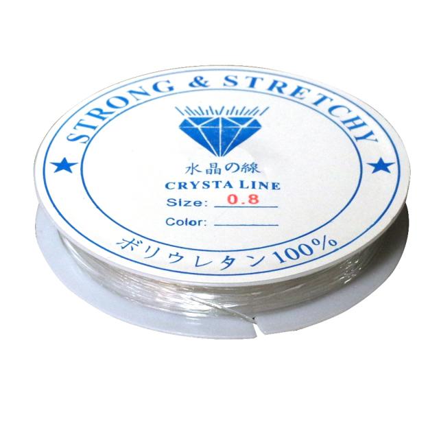 シリコンゴム 0.8mm 透明 クリア ブレスレット ゴム ポリウレタンゴム 水晶の線