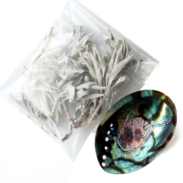 ホワイトセージ 枝付き 30g前後 アバロンシェル 浄化皿 セット