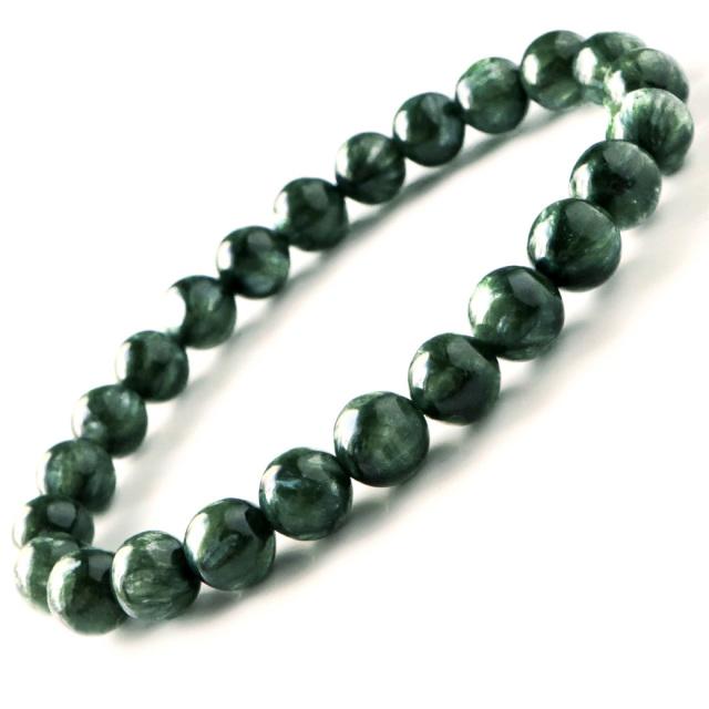 高品質 セラフィナイト ブレスレット 斜緑泥石 ロシア産