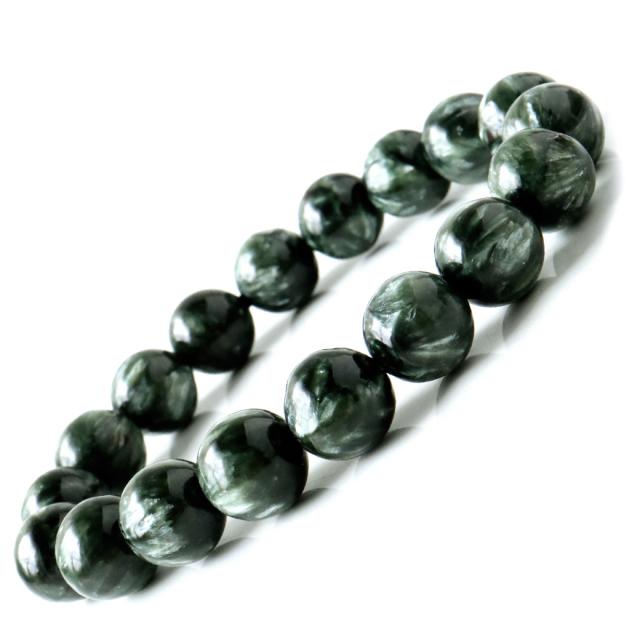 セラフィナイト ブレスレット 11.5mm 斜緑泥石 ロシア産 高品質 天然石 パワーストーン