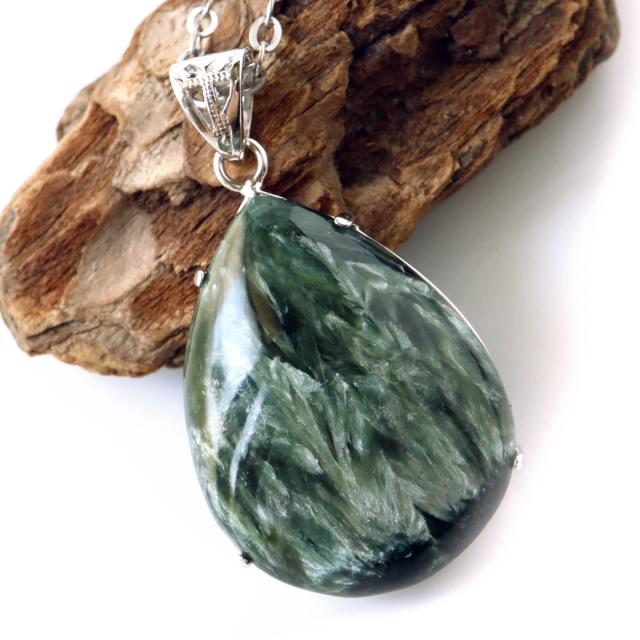 セラフィナイト ネックレス 天然石 ペンダント Silver925 高品質 パワーストーン 斜緑泥石 ロシア産