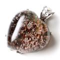 ガーデンクォーツ 庭園 水晶 ペンダント ハート型 1点物 Silver925 自然の芸術