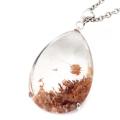 ルチル入り ガーデンクォーツ 庭園 水晶 ネックレス 天然石 ペンダント 透明度高め 大きめサイズ 1点物 Silver925 自然の芸術
