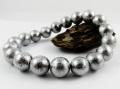 ギベオン 鉄隕石(メテオライト)シルバー10mmブレスレット