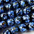 とんぼ玉 一連 ビーズ 34玉 12mm 藍色 インディゴブルー