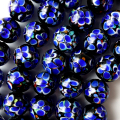 とんぼ玉 一連 ビーズ 34玉 12mm 青色 ブルー