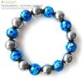 テラヘルツ鉱石 × 夜光 ホタルガラス ブルー ブレスレット12mm 暗闇で光る パワーストーン