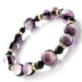 光る ホタルガラス マリンパープル 紫 ブレスレット 沖縄 人気 お土産 パワーストーン